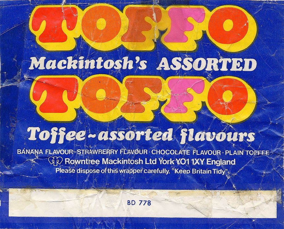 Toffo sweet wrapper 1970s Vintage Print Pinterest